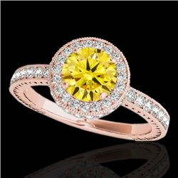 1.51 CTW Certified Si Fancy Intense Yellow Diamond Solitaire Halo Ring 10K Rose Gold - REF-180M2F -