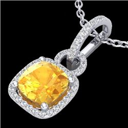 3.50 CTW Citrine & Micro VS/SI Diamond Certified Necklace 18K White Gold - REF-64F2M - 22978