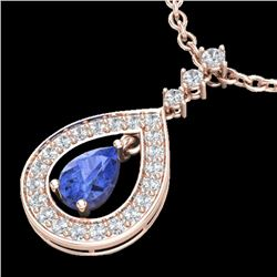 1.15 CTW Tanzanite & Micro Pave VS/SI Diamond Necklace Designer 14K Rose Gold - REF-62X2T - 23173