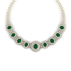 45.69 CTW Royalty Emerald & VS Diamond Necklace 18K Yellow Gold - REF-1618T2X - 38792