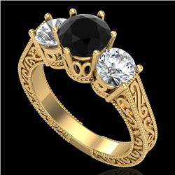 2.01 CTW Fancy Black Diamond Solitaire Art Deco 3 Stone Ring 18K Yellow Gold - REF-241F8M - 37578