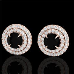 2 CTW Micro Pave VS/SI Diamond Certified Stud Earrings Double Halo 14K Rose Gold - REF-100T8X - 2146