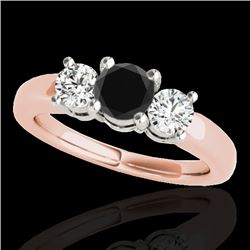 2 CTW Certified Vs Black Diamond 3 Stone Solitaire Ring 10K Rose Gold - REF-185T5X - 35443