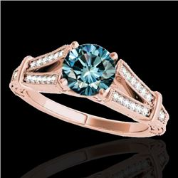 1.25 CTW SI Certified Blue Diamond Solitaire Antique Ring 10K Rose Gold - REF-172M8F - 34663