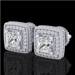 2.01 CTW Princess VS/SI Diamond Solitaire Art Deco Earrings 18K White Gold - REF-245M5F - 37127