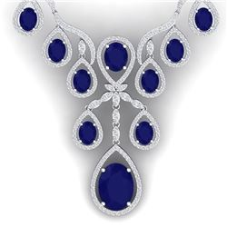 37.66 CTW Royalty Sapphire & VS Diamond Necklace 18K White Gold - REF-890X9T - 38562