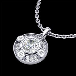 1.01 CTW VS/SI Diamond Solitaire Art Deco Stud Necklace 18K White Gold - REF-221F8M - 36983