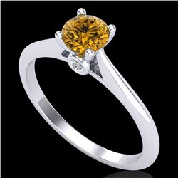 0.56 CTW Intense Fancy Yellow Diamond Engagement Art Deco Ring 18K White Gold - REF-81F8M - 38190
