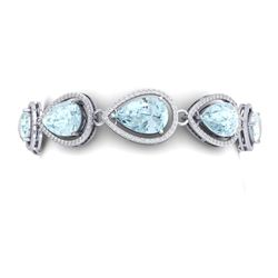 41.07 CTW Royalty Sky Topaz & VS Diamond Bracelet 18K White Gold - REF-436W4H - 39564