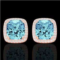 6.50 CTW Sky Blue Topaz & Micro VS/SI Diamond Halo Earrings 14K Rose Gold - REF-64T8X - 22813