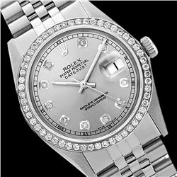Rolex Men's Stainless Steel, QuickSet, Diamond Dial & Diamond Bezel - REF-441Z8Y