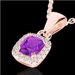 1.25 CTW Amethyst & Micro Pave VS/SI Diamond Certified Halo Necklace 10K Rose Gold - REF-28F8M - 228