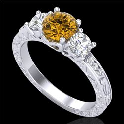 1.41 CTW Intense Fancy Yellow Diamond Art Deco 3 Stone Ring 18K White Gold - REF-180T2X - 37763