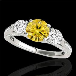 1.75 CTW Certified Si Fancy Intense Yellow Diamond 3 Stone Ring 10K White Gold - REF-236M4F - 35356