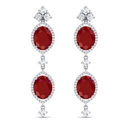 15.81 CTW Royalty Designer Ruby & VS Diamond Earrings 18K White Gold - REF-309H3W - 38907