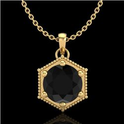 0.82 CTW Fancy Black Diamond Solitaire Art Deco Stud Necklace 18K Yellow Gold - REF-54H5W - 38047