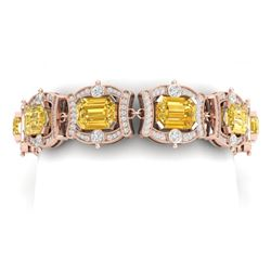 37.15 CTW Royalty Canary Citrine & VS Diamond Bracelet 18K Rose Gold - REF-654Y5N - 38788