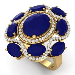 9.86 CTW Royalty Designer Sapphire & VS Diamond Ring 18K Yellow Gold - REF-200T2X - 39299