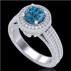 2.8 CTW Intense Blue Diamond Solitaire Engagement Art Deco Ring 18K White Gold - REF-327T3X - 38006