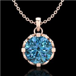 1.5 CTW Fancy Intense Blue Diamond Solitaire Art Deco Necklace 18K Rose Gold - REF-172H8W - 37384