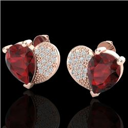 2.50 CTW Garnet & Micro Pave VS/SI Diamond Certified Earrings 10K Rose Gold - REF-30H2W - 20074