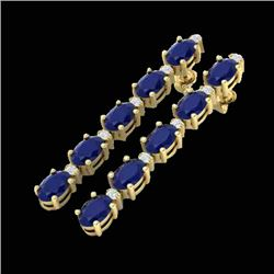 7 CTW Sapphire & VS/SI Diamond Certified Tennis Earrings 10K Yellow Gold - REF-64F4M - 21532