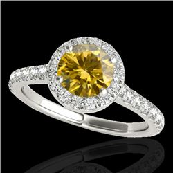 1.4 CTW Certified Si Fancy Intense Yellow Diamond Solitaire Halo Ring 10K White Gold - REF-160T2X -