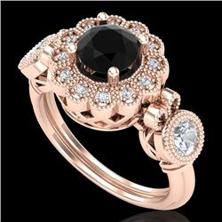 1.5 CTW Fancy Black Diamond Solitaire Art Deco 3 Stone Ring 18K Rose Gold - REF-170R2K - 37850