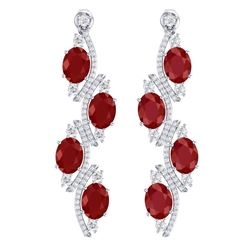 16.12 CTW Royalty Designer Ruby & VS Diamond Earrings 18K White Gold - REF-290T9X - 38979