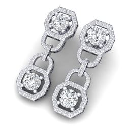 4 CTW Certified SI/I Diamond Halo Earrings 18K White Gold - REF-271N4Y - 40130
