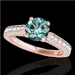 1.6 CTW SI Certified Fancy Blue Diamond Solitaire Ring 10K Rose Gold - REF-180K2R - 34922