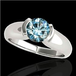 1 CTW SI Certified Fancy Blue Diamond Solitaire Ring 10K White Gold - REF-172F8M - 35178