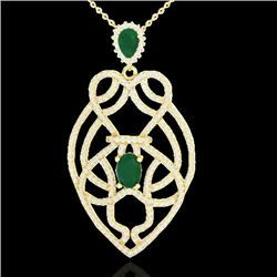 3.50 CTW Emerald & Micro VS/SI Diamond Heart Necklace Solitaire 14K Yellow Gold - REF-179T6X - 21249