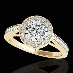 1.45 CTW H-SI/I Certified Diamond Solitaire Halo Ring 10K Yellow Gold - REF-169W3H - 33798