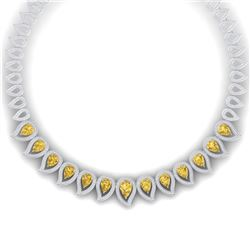31.74 CTW Royalty Canary Citrine & VS Diamond Necklace 18K White Gold - REF-1145K5R - 39447