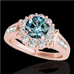 1.9 CTW SI Certified Fancy Blue Diamond Solitaire Halo Ring 10K Rose Gold - REF-206T4X - 34298