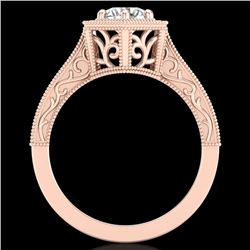 0.77 CTW VS/SI Diamond Solitaire Art Deco Ring 18K Rose Gold - REF-218X2T - 36897