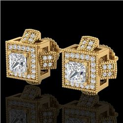 1.73 CTW Princess VS/SI Diamond Micro Pave Stud Earrings 18K Yellow Gold - REF-254K5R - 37186