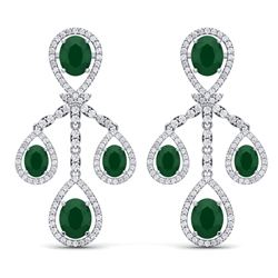 25.08 CTW Royalty Emerald & VS Diamond Earrings 18K White Gold - REF-490K9R - 38571