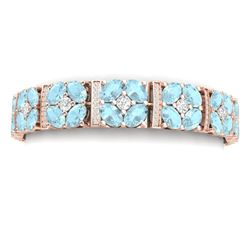 36.08 CTW Royalty Sky Topaz & VS Diamond Bracelet 18K Rose Gold - REF-536W4H - 39025