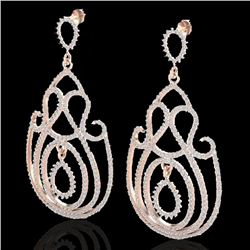 3.50 CTW Micro Pave Designer VS/SI Diamond Certified Earrings 14K Rose Gold - REF-291R3K - 22447