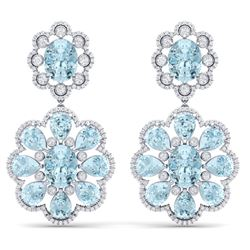 32.99 CTW Royalty Sky Topaz & VS Diamond Earrings 18K White Gold - REF-345T5X - 39162
