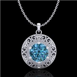 1.11 CTW Fancy Intense Blue Diamond Solitaire Art Deco Necklace 18K White Gold - REF-180T2X - 37565