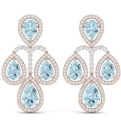 30.54 CTW Royalty Sky Topaz & VS Diamond Earrings 18K Rose Gold - REF-409W3H - 39370