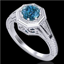 0.84 CTW Fancy Intense Blue Diamond Solitaire Art Deco Ring 18K White Gold - REF-161F8M - 37929