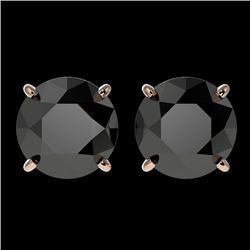3.18 CTW Fancy Black VS Diamond Solitaire Stud Earrings 10K Rose Gold - REF-80F9M - 36698