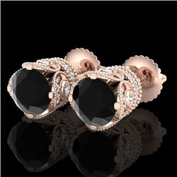 3 CTW Fancy Black Diamond Solitaire Art Deco Stud Earrings 18K Rose Gold - REF-149N3Y - 37416