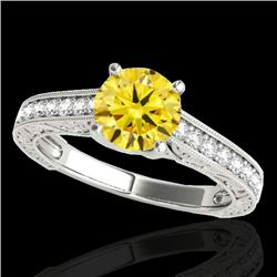 1.32 CTW Certified Si Fancy Intense Yellow Diamond Solitaire Ring 10K White Gold - REF-154K4R - 3495