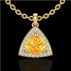 1.50 CTW Citrine & Micro Pave Halo VS/SI Diamond Necklace 18K Yellow Gold - REF-41M6F - 20522