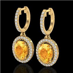 3.50 CTW Citrine & Micro Pave VS/SI Diamond Earrings Halo 18K Yellow Gold - REF-94F5M - 20321